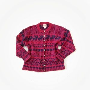 Woolrich Classic Red Button Down Sweater Wool L